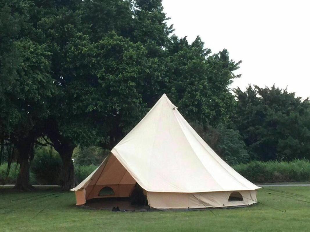 الخيام والملاجئ Grntamn Light Khaki للماء القطن قماش 4M جرس خيمة التخييم في الهواء الطلق 10 الأسرة يورت