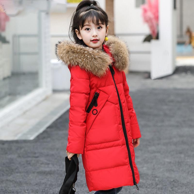 -30 grados niñas ropa de abrigo chaqueta de ropa de niña de invierno espesan la verdadera Parka de piel con capucha niños abrigos Abrigos