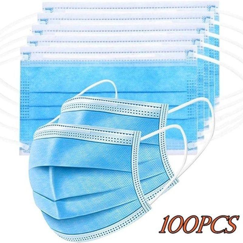 50pcs / 100pcs Viso Bocca Maschera ermetico monouso Protect 3 strati antipolvere maschere Earloop non tessuto Bocca