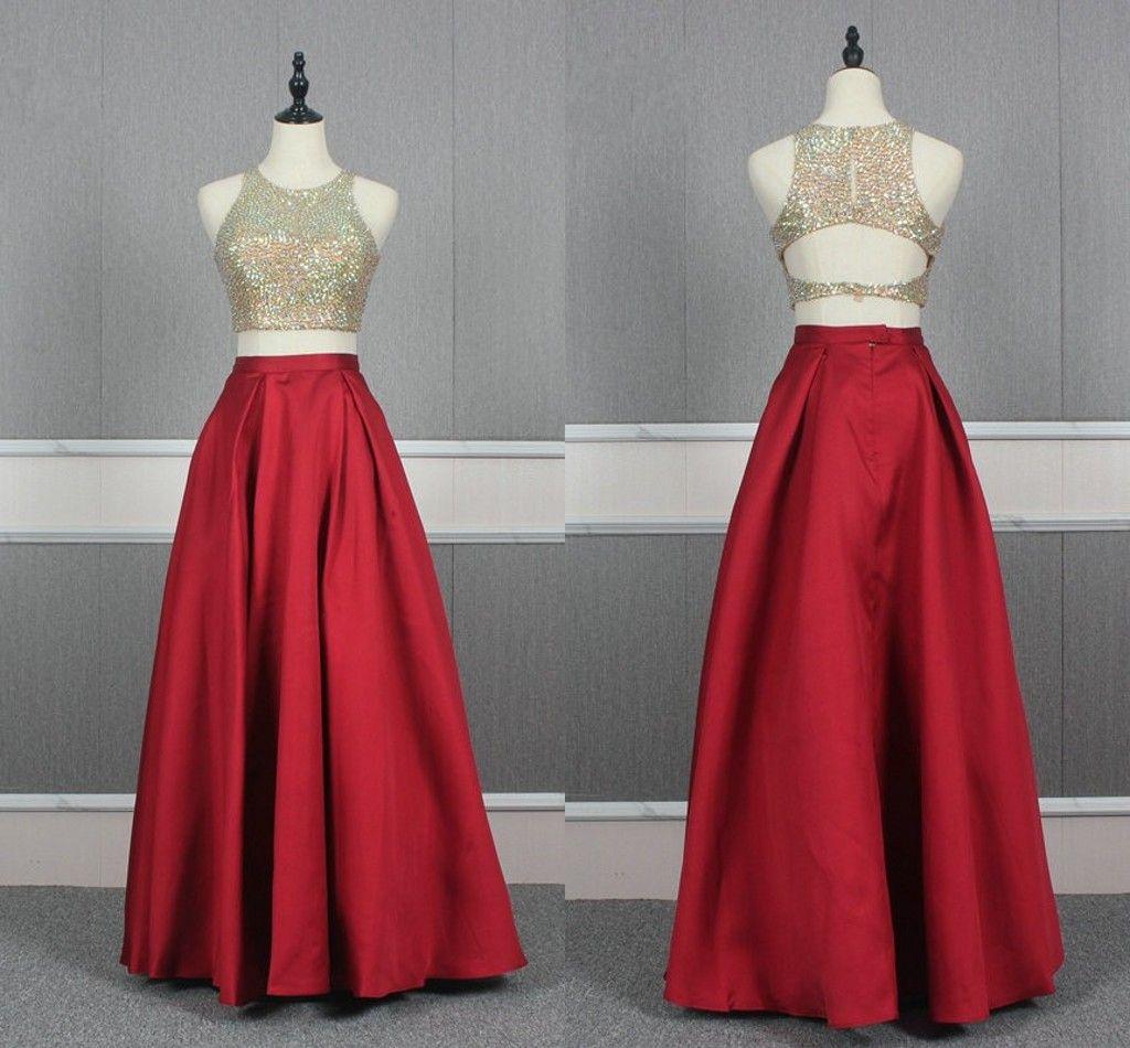 2 Pieces Red Prom Dress Long A-line 2021 Beaded High Jewel Zipper Satin Dress Evening Wear Formal Party Gowns Long Pageant Vestidos De