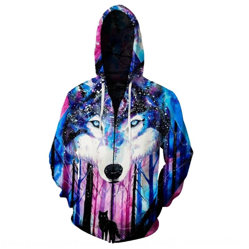 2020 men's spring and autumn new Hoodie shirt wolf head printing 3D printing comfortable men's hoodie zipper shirt