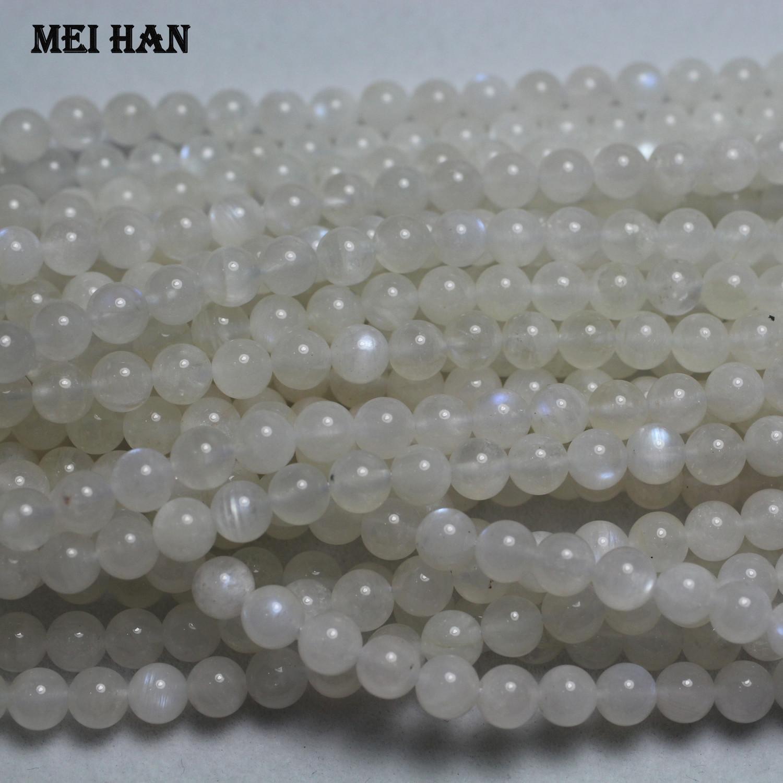 Meihan (2 brins / set) véritable A + 6 mm + -0,2 arc-en-Moonstone lisse pierre perles rondes pour le bricolage fabrication de bijoux en gros CX200815
