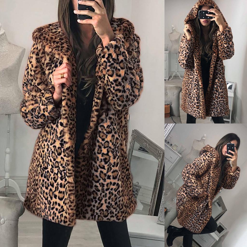 Leopard Тедди пальто женщин Ladies Зимний теплый искусственный мех куртки пальто Leopard с капюшоном Верхняя одежда Куртки Mujer 2019 # G2 T200831