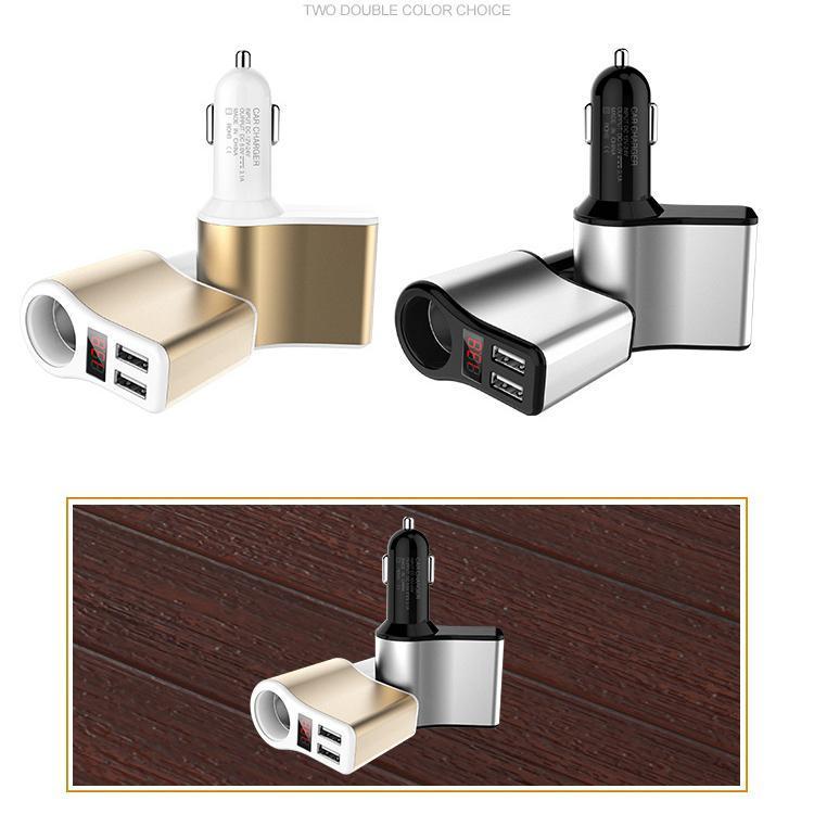 2 Acceso Y encendedor de cigarrillos con la caja de regalo al por mayor de doble puerto USB cargador de coche cargador de coche 3 .1a Cgjxs DC12 ~ 24V