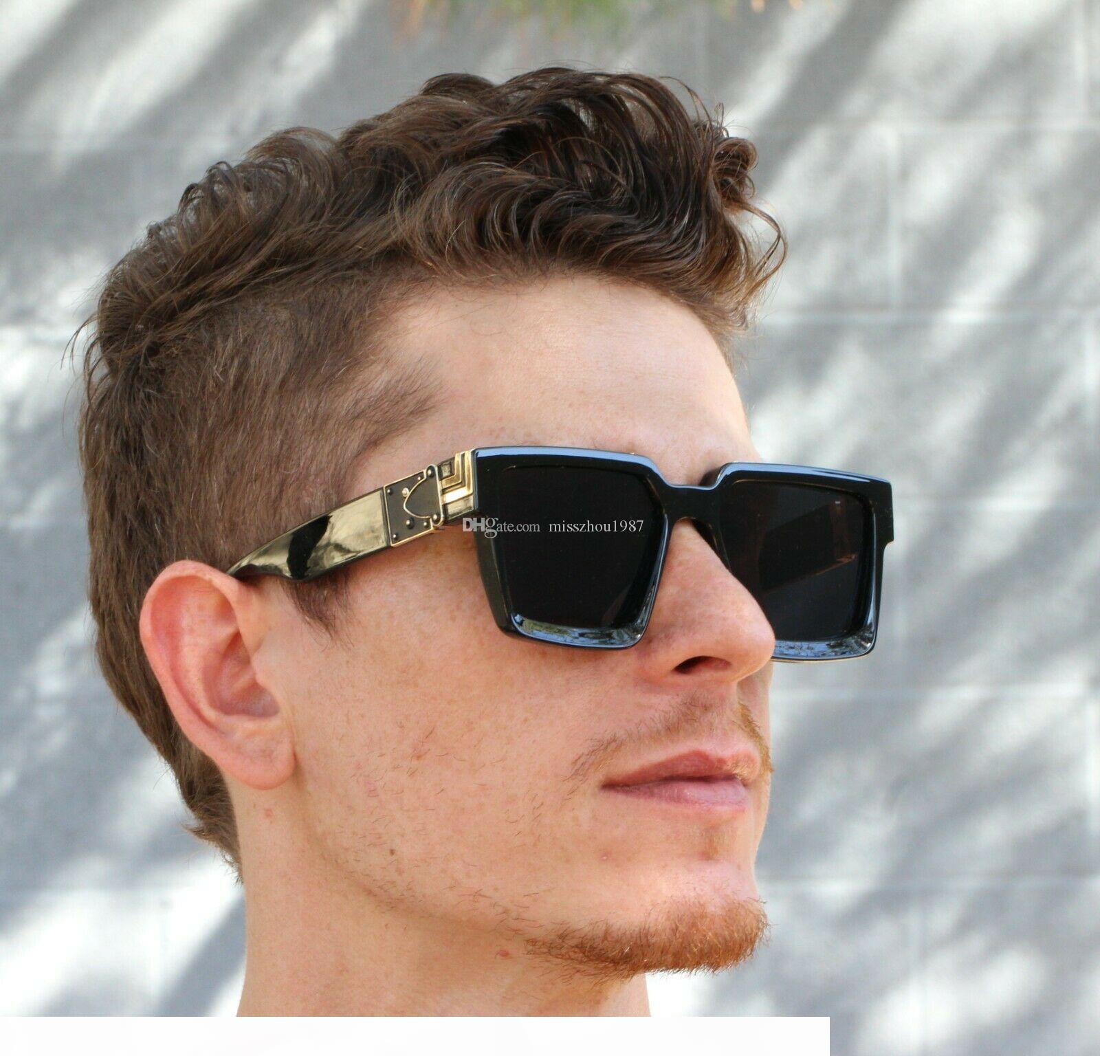 2019 Luxury MILLIONAIRE 96006 Солнцезащитные очки для мужчин полный кадр Vintage дизайнер солнцезащитных очков для мужчин Блестящая золото Logo Горячее надувательство Позолоченные Top
