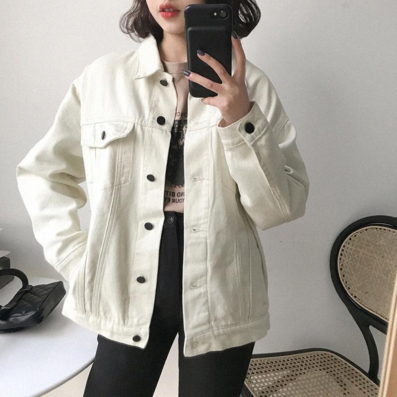 Primavera Denim Jacket soltas Casual Casaco Comprido manga curta mulheres chiques de moda amarelo bege Windbreaker Senhoras Jeans Jacket Jackets Daws #