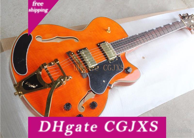 Guitarra elétrica fabricante Personalizado Laranja do corpo oco, Vibrato Ponte Sistema, Conexão Corpo, Cor Personalizada Etiqueta