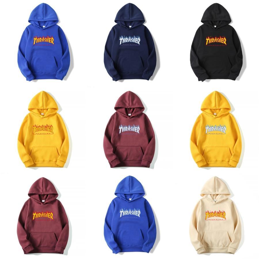 19SS 62751 Crewneck SWEATSHIRT T0PST0NE Uzun Kollu T Shirt Basit Katı Kazak Moda Kazak Thrasher Sportwear Sokak HFLSWY293 # 804