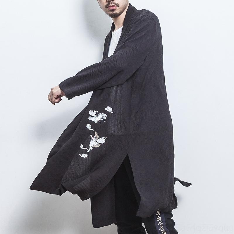 qpeqR style chinois lumière zhong hommes d'été yun cardigan coupe-vent coupe-vent, il broderie longueur L hommes Rashguard de trench-coat de