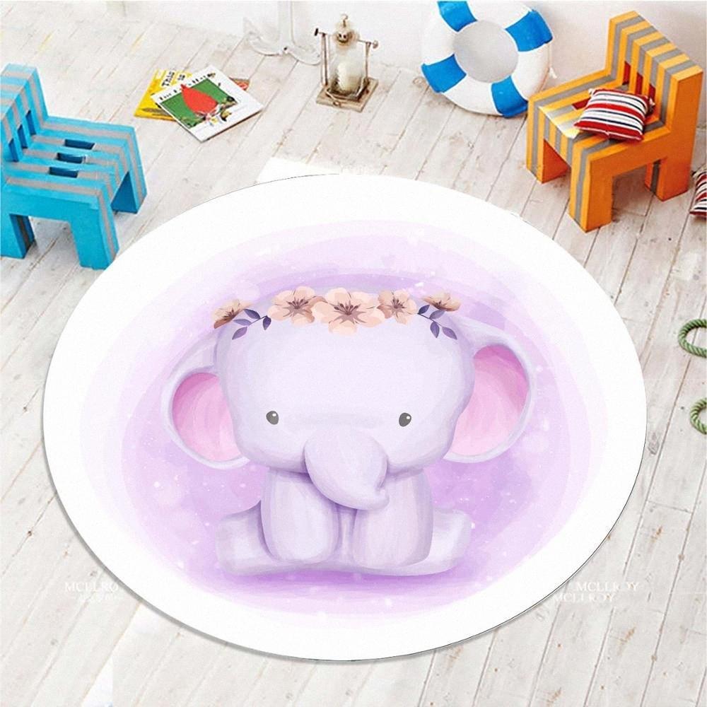 Padrão de impressão Else roxo Elefantes Flores meninas 3D Anti escorregar de volta redonda Tapetes tapete de área For Kids bebê Crianças Quarto OIN5 #