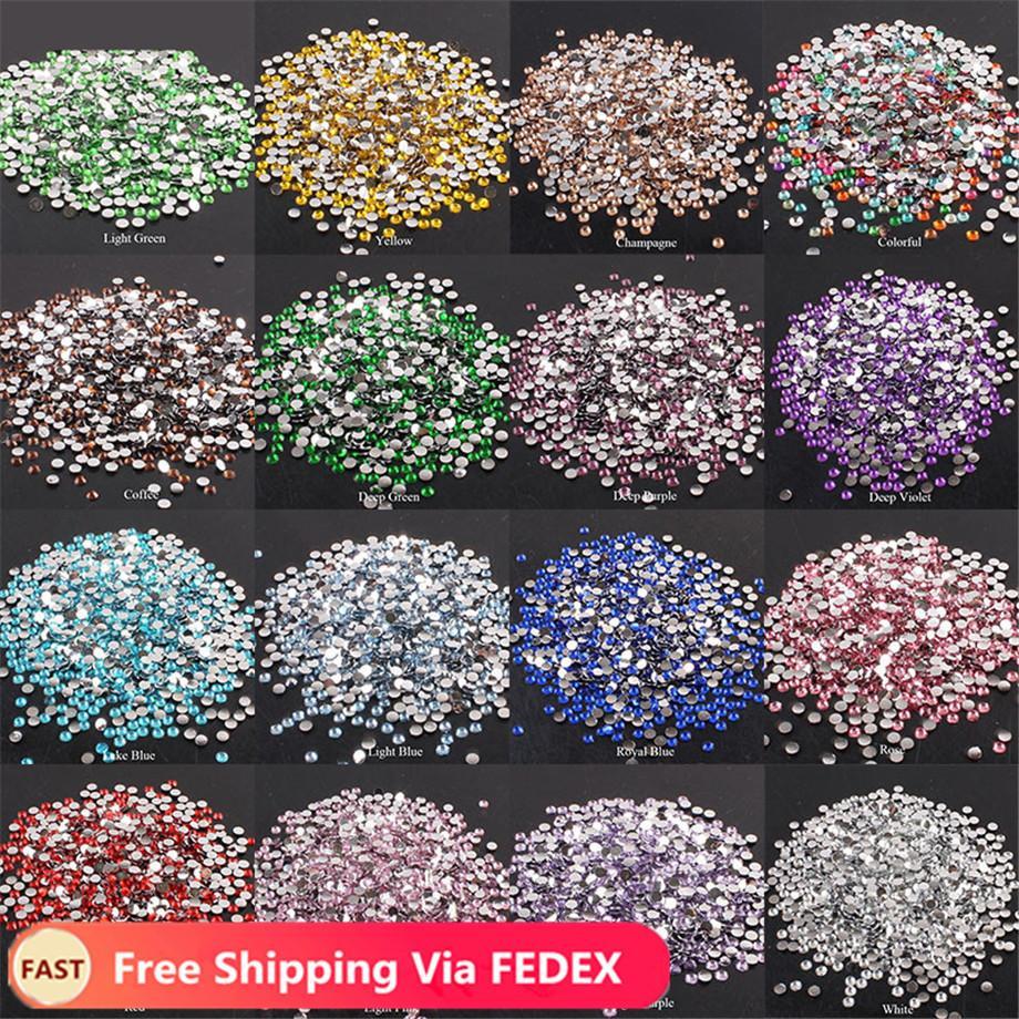 2-6mm 1000pcs ongles Art strass cristal clair AB AB non Hotfix pour vêtements 3D Décoration de clou