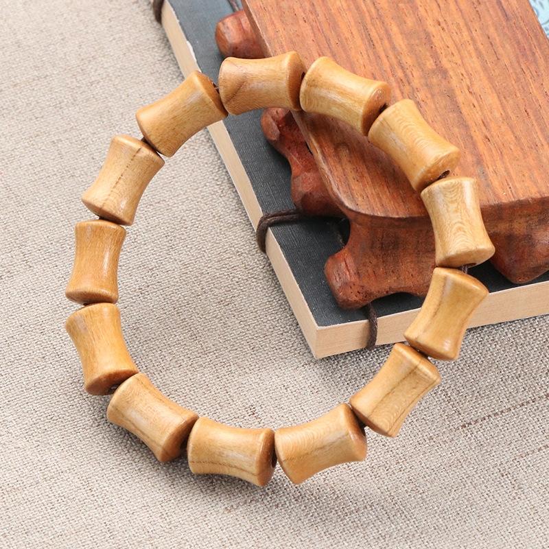 pêssego Natural pulseira de bambu madeira Buda homens e mulheres casal pulseira jóias contas talão talão pingente de engrenagem do carro contas pendentes AFByM