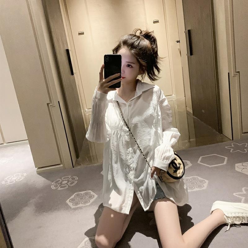 2019 verão bolha novo estilo coreano preguiçoso estilo manga de camisa branca Top plissado camisa branca design elegante nicho de topo de Mulheres Sgs2I