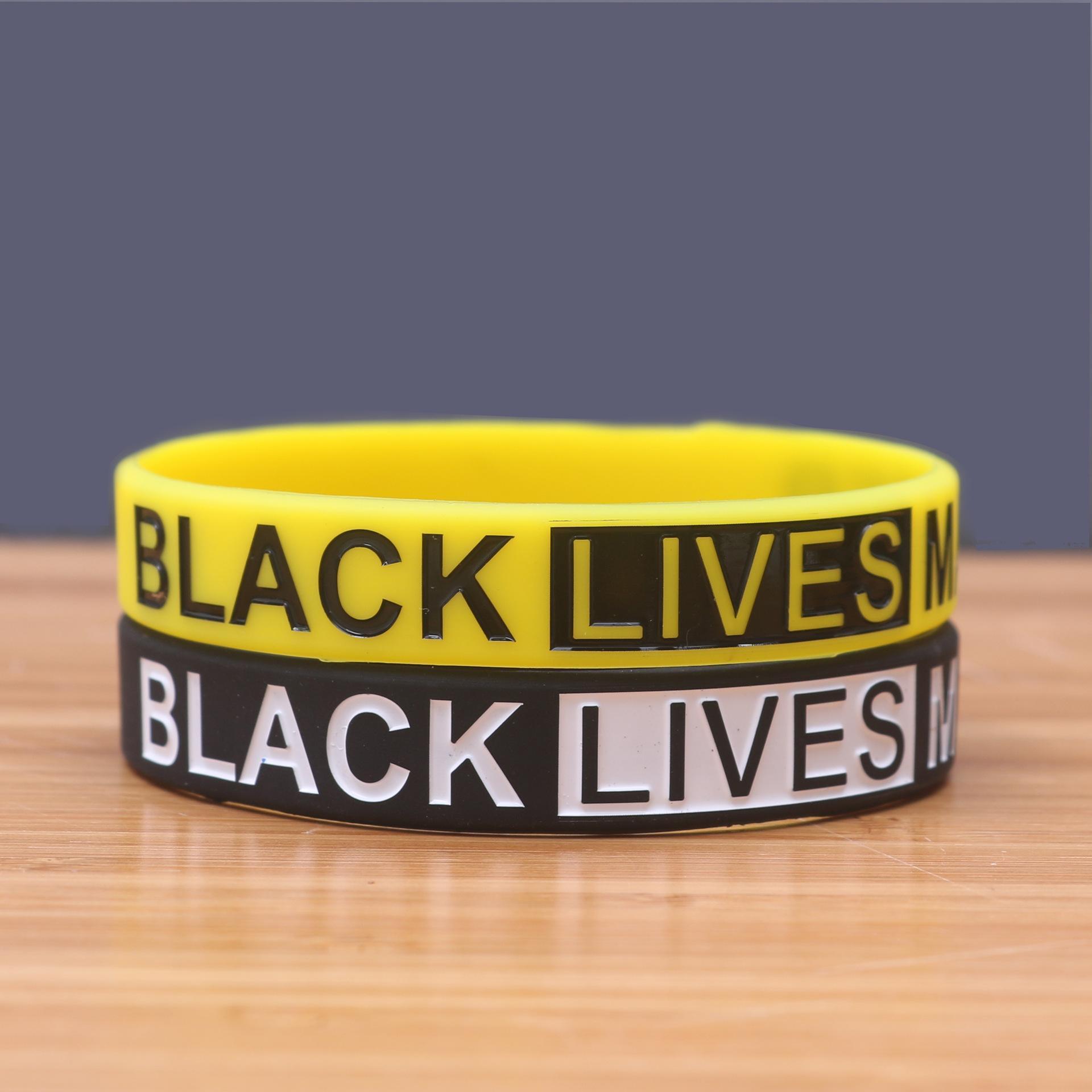 Ücretsiz nakliye Moda liçi Siyah Hayatlar Matter Silikon Bilek Bandı Bileklik Manşet Bileklik Kauçuk Bileklik Unisex Takı