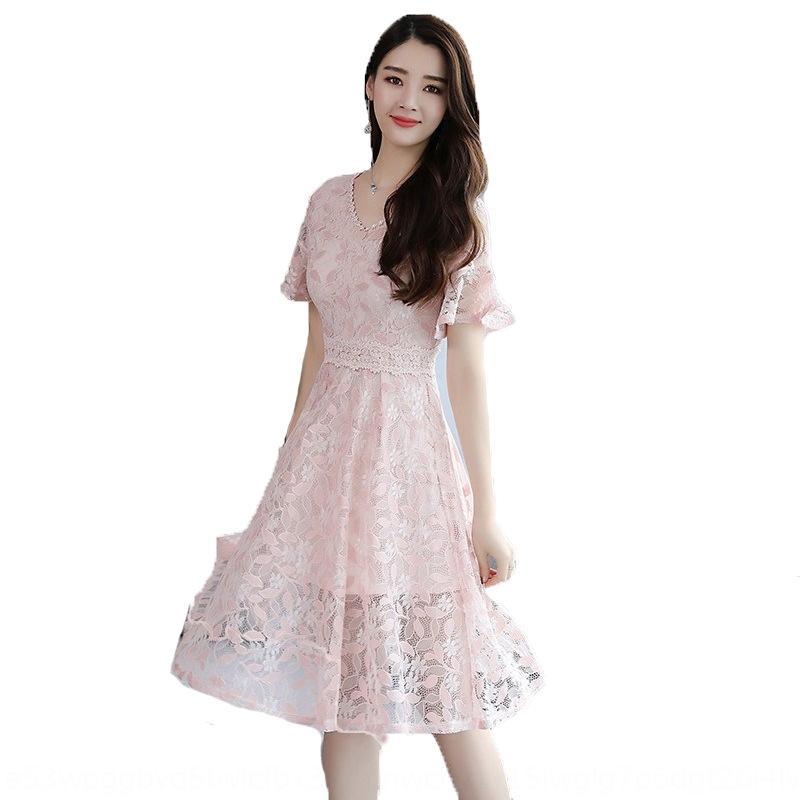2019 verão A- linha de vestido de renda novo elegante magro V-neck de comprimento médio moderno rendas Lady A- linha de vestido LboLK