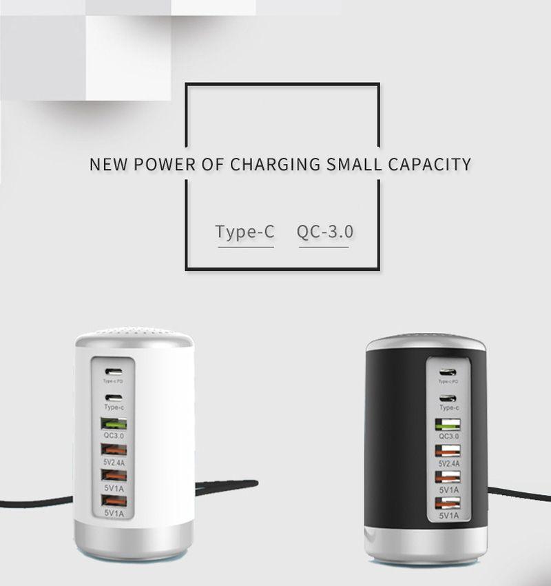 삼성 아이폰 허브 스플리터 어댑터 6Ports PD 멀티 USB 홈 여행 충전기 전원 어댑터 미국 플러그