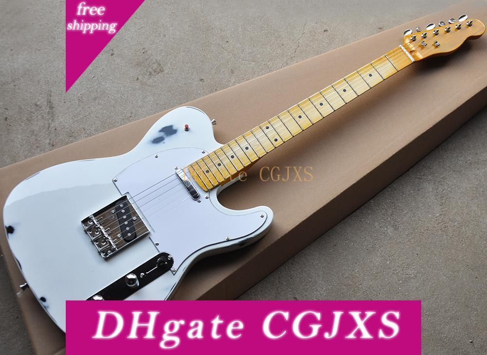 Fabrika Toptan Beyaz Retro Elektro Gitar ile Staccato Anahtarı, Sarı Akçaağaç Boyun, Beyaz Pickguard, Özelleştirilmiş olarak Reques Olabilir