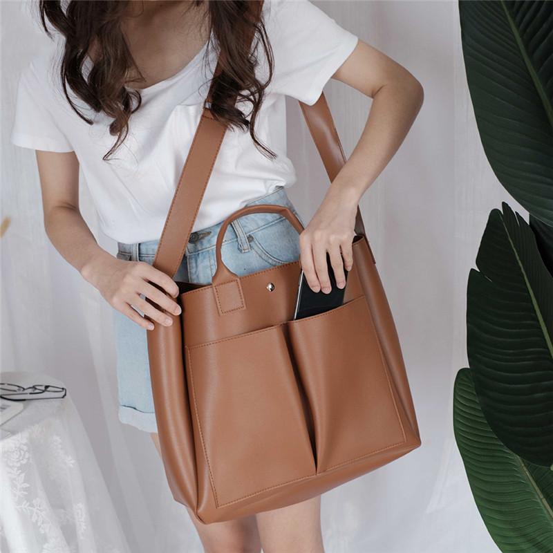 El nuevo diseño de la PU bolsos de la moda de las mujeres del hombro de gran capacidad casuales de mano de la vendimia señoras de Crossbody Bolsa interior de la cremallera del bolsillo