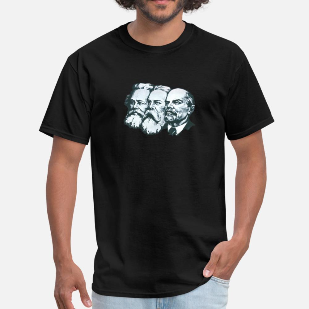 Marx Engels e Lênin camiseta homens impressão camiseta S 3xl-Basic camisa do verão Sólido presente respirável Formal
