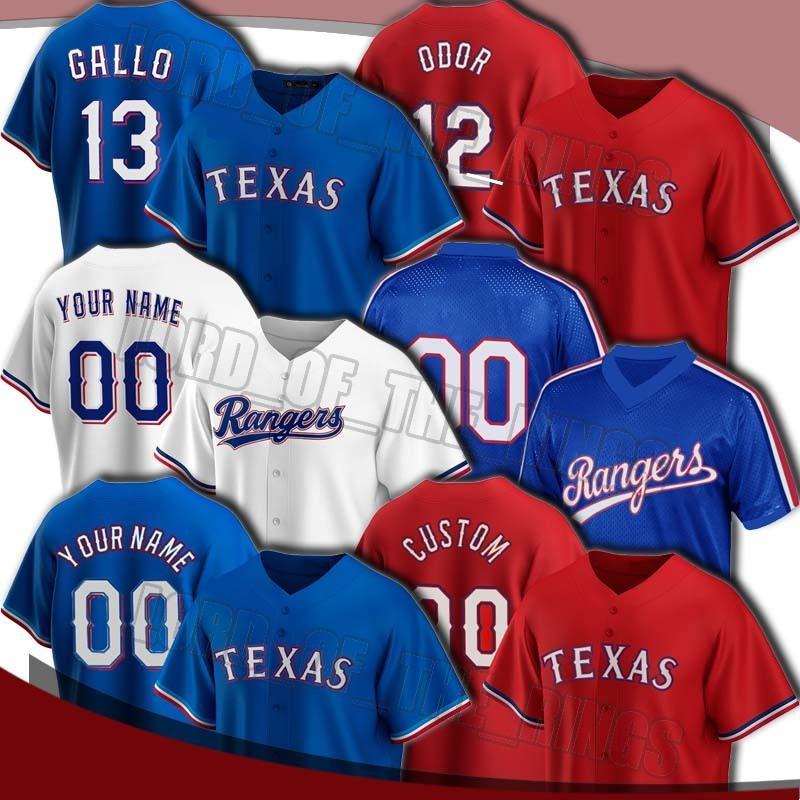 Rangers personalizados 12 Rougged Odor Jersey 13 Joey Gallo Jerseys 35 Lance Lynn Nolan Ryan Jersey Todd Frazier Willie Calhoun Jerseys de béisbol