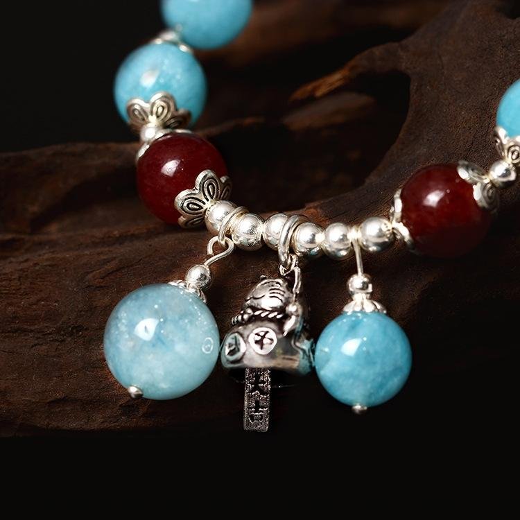 925 silver creative handmade diy design Bell fortune cat Diy bracelet National style candy color natural aquamarine bracelet OHw4y