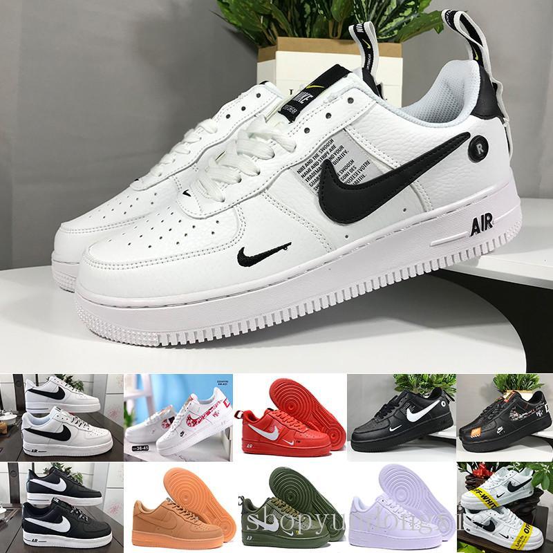 Nike Air Force 1 One Af1 Venta 2019 zapatos Fuerzas nuevos hombres del diseño del monopatín baratos de baja Uno unisex 1 Euro Knit de aire de alta Mujeres Todos Blanco Negro Ro