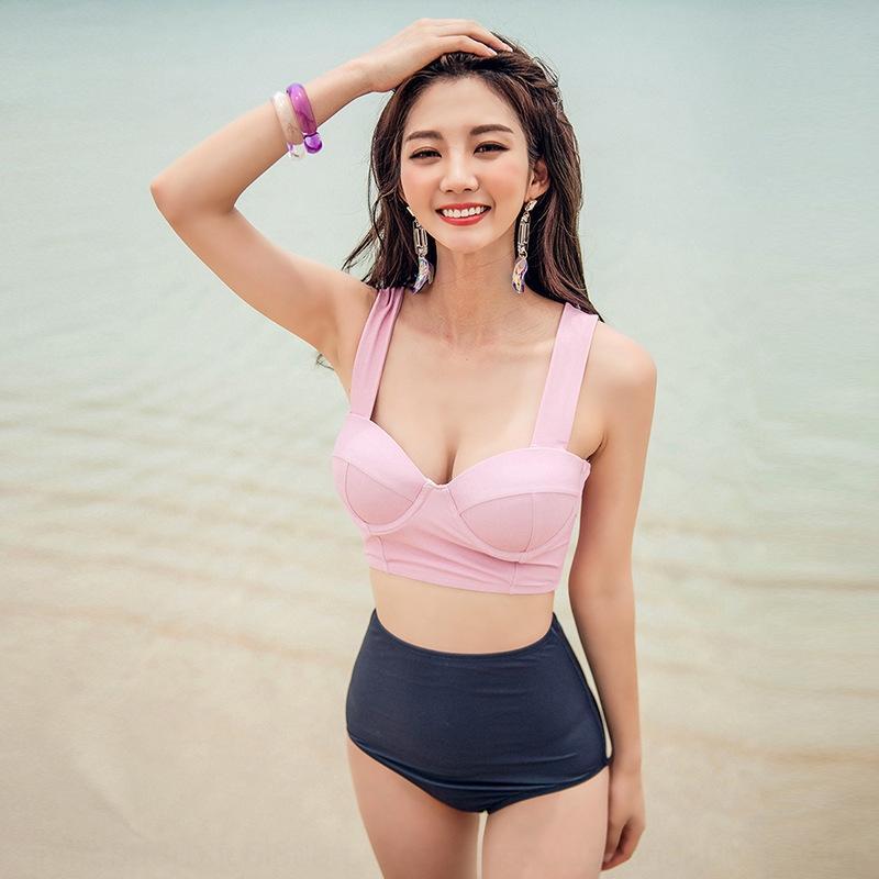 8MnQA 2020 costume da bagno delle donne coreane di stile spaccato alta pancia della vita che copre il dimagrimento raccolte acciaio costume da bagno bikini formato della cassa staffa bikini
