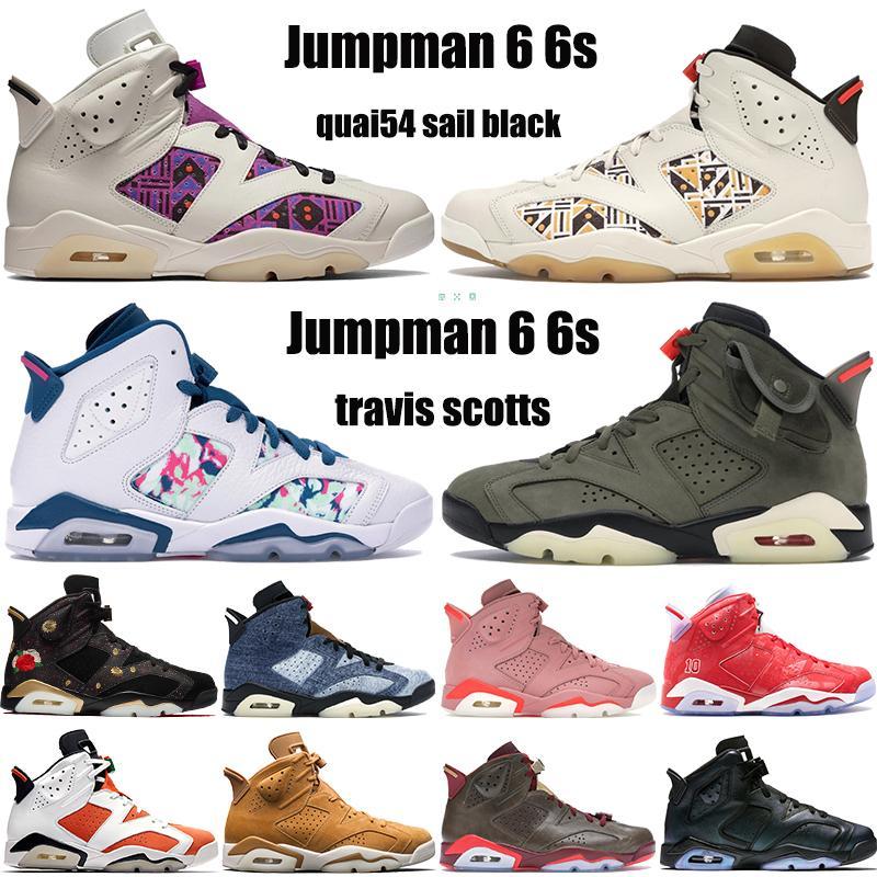 2020 الجديدة Jupman الأحذية 6 6S كرة السلة quai54 الشراع أسود اللون البني ترافيس سكوتس denimaleali غسلها قد CNY في الهواء الطلق رجالي الولايات المتحدة 7-13