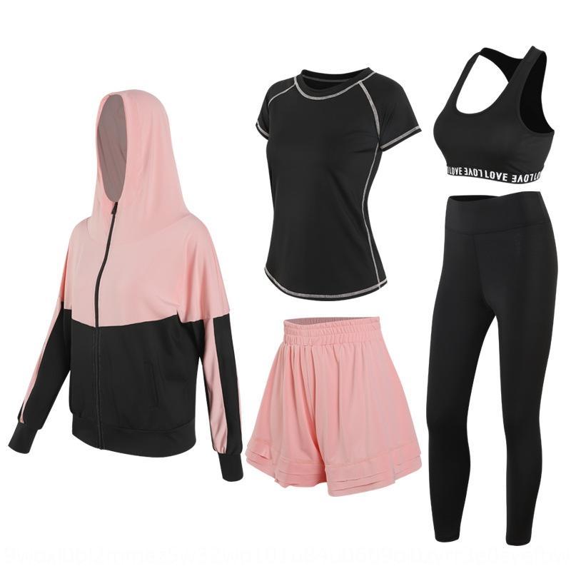 Весна Лето Йога и лето Yoga женщин с длинными рукавами тренажерный зал работает спортивный костюм свободные брюки способа юбки быстросохнущую костюм пригодности 6f79N 6f