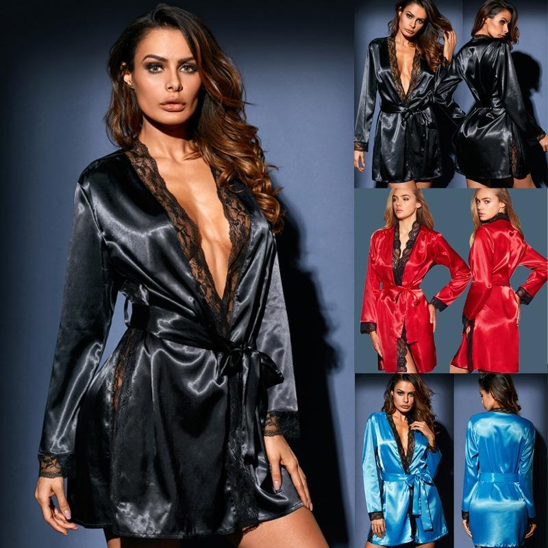 vente pyjamas sexy de sous-vêtements de dentelle 1Pq6s chaud imitation Sous-vêtements de soie chemise de nuit en dentelle à manches longues costume sexy de glace