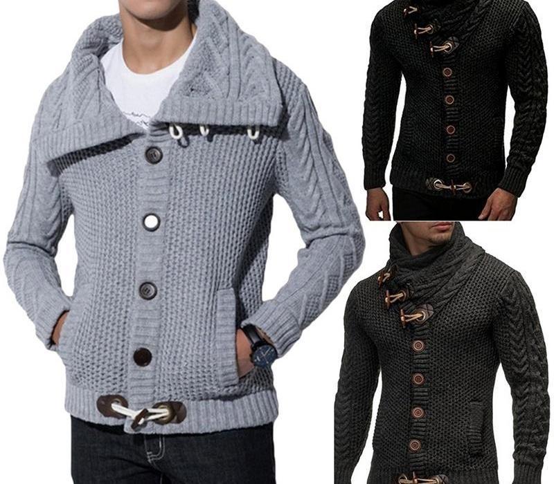 Escudo chaqueta de punto de los hombres de moda de otoño suéteres sólidos caliente casual Knitting puente suéter masculino abrigos más el tamaño 3XL