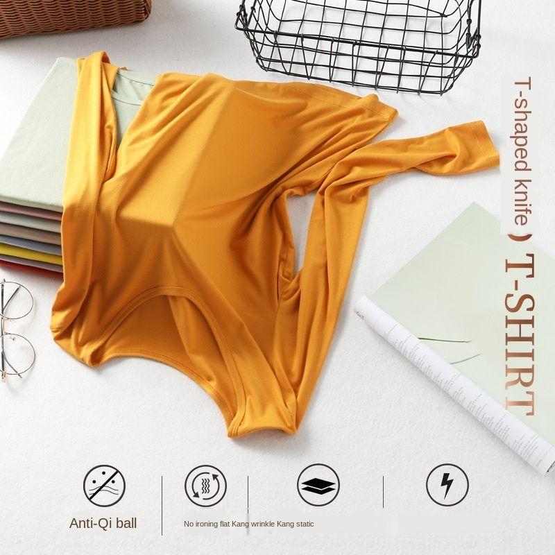 Gb5JK TtmyS Multi-cor do tecido anti-estático longo liso mascarar não engomar CHAO manga de malha camisa de base pullover máscara facial pullover