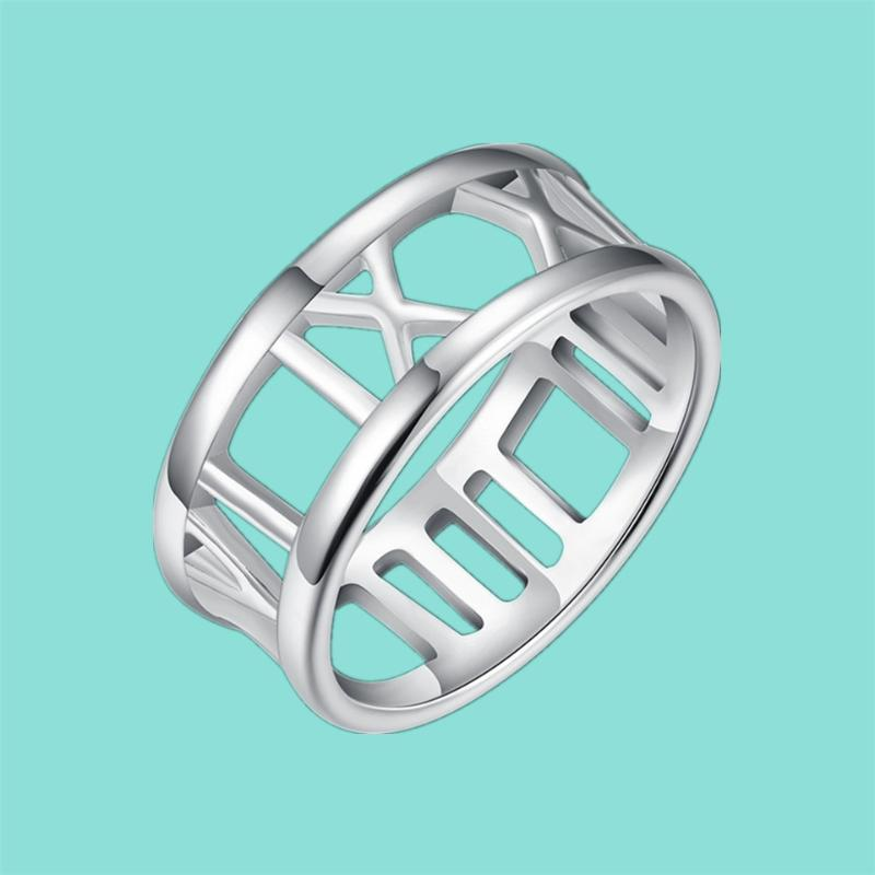 925 Sterling Silver Roman Numeral Ring Geometric Number Ring Women Charm Jewelry Gift