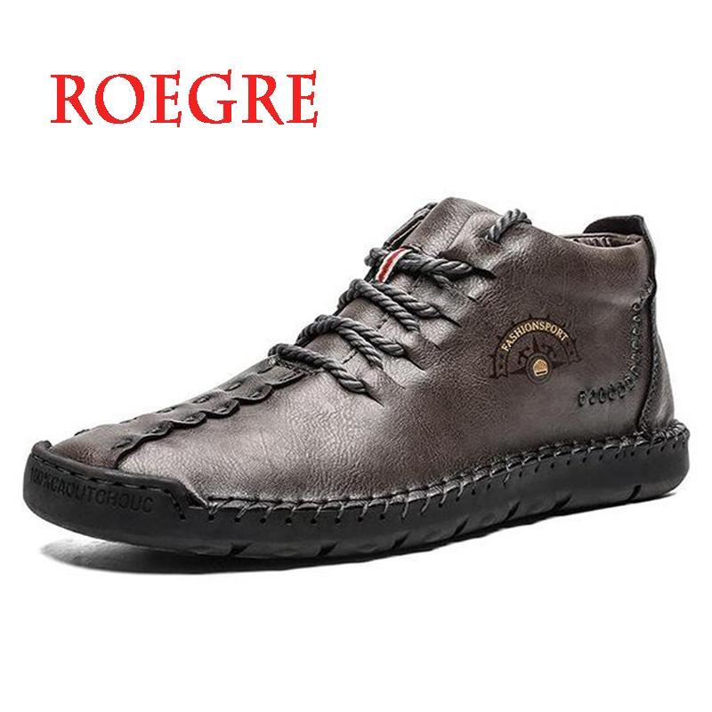 Botas 2021 Moda Homens Alta Qualidade Split Couro Homem Ankle Não-deslizamento Sapatos de Neve Quente Pele de Pelúcia Men's Winter Plus