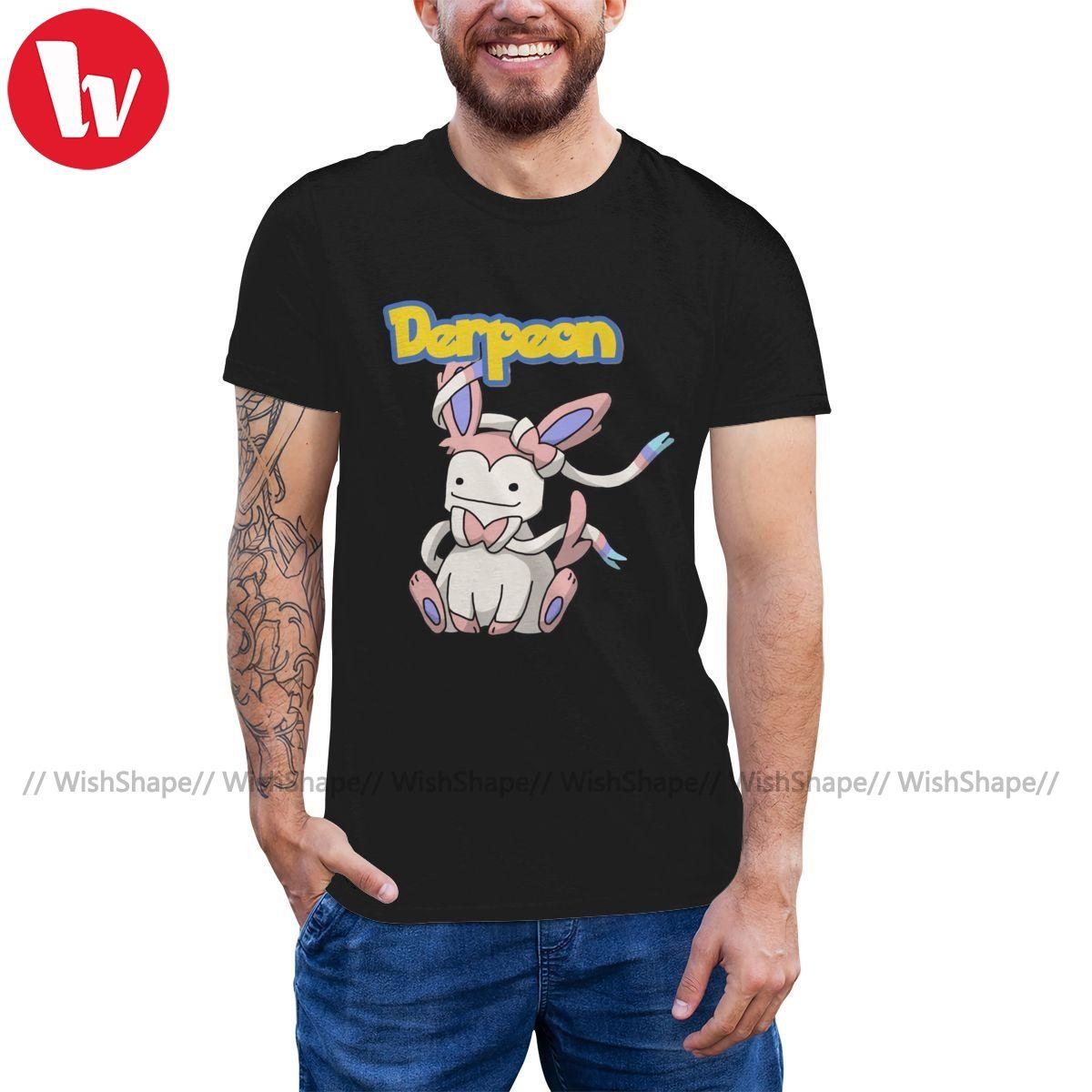 Umbreon Футболка Фея Derpeon Футболка Мужчины Big Tee Shirt 100 процентов хлопка Графический Высокий Мода Tshirt