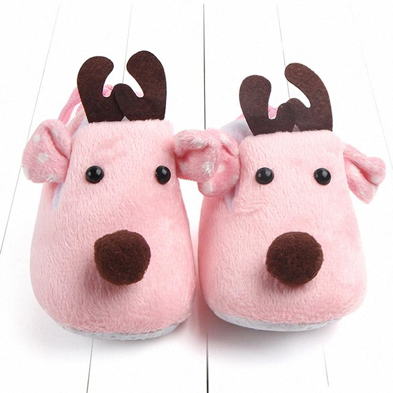 Baby Toddler Shoes Christmas Cute Cotton Reindeer Autumn Winter Warm Cotton Fawn Baby Soft Bottom Shoes Gift 1onO#