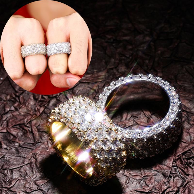 personalizzato oro oro bianco del diamante di Bling Gli amanti ghiacciato fuori l'anello di barretta banda Cubic Zirconia Hip Hop di nozze anelli di fidanzamento per le coppie