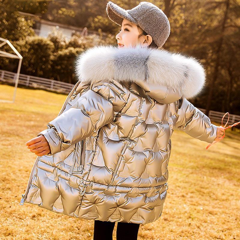Inverno Bambini lungo cappotto incappucciato dell'anatra giù del rivestimento lucido di modo Snowsuit dei figli adolescenti vestiti della ragazza Capispalla Ragazzi parka vera pelliccia