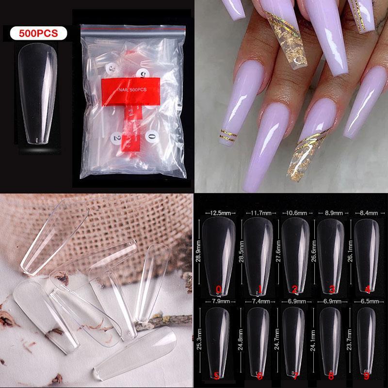 500pcs / мешок Длинные ногти Балерина Clear Природные Coffin накладные ногти Art Советы Ультра Гибкая Поддельные Гвозди Полное покрытие Дизайн Маникюр