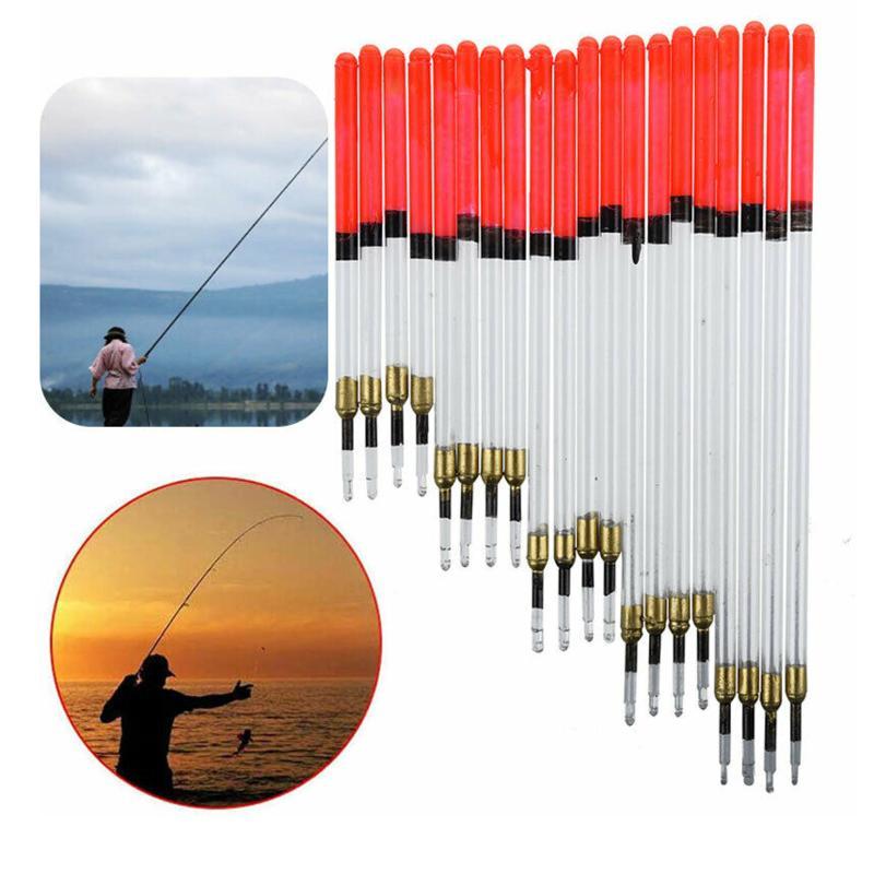 20PCS resistentes y ligeros de plástico transparente de cristal Waggler Pesca Pescado flotadores flotante conjuntos de vástago de tubo Pesca Accesorios