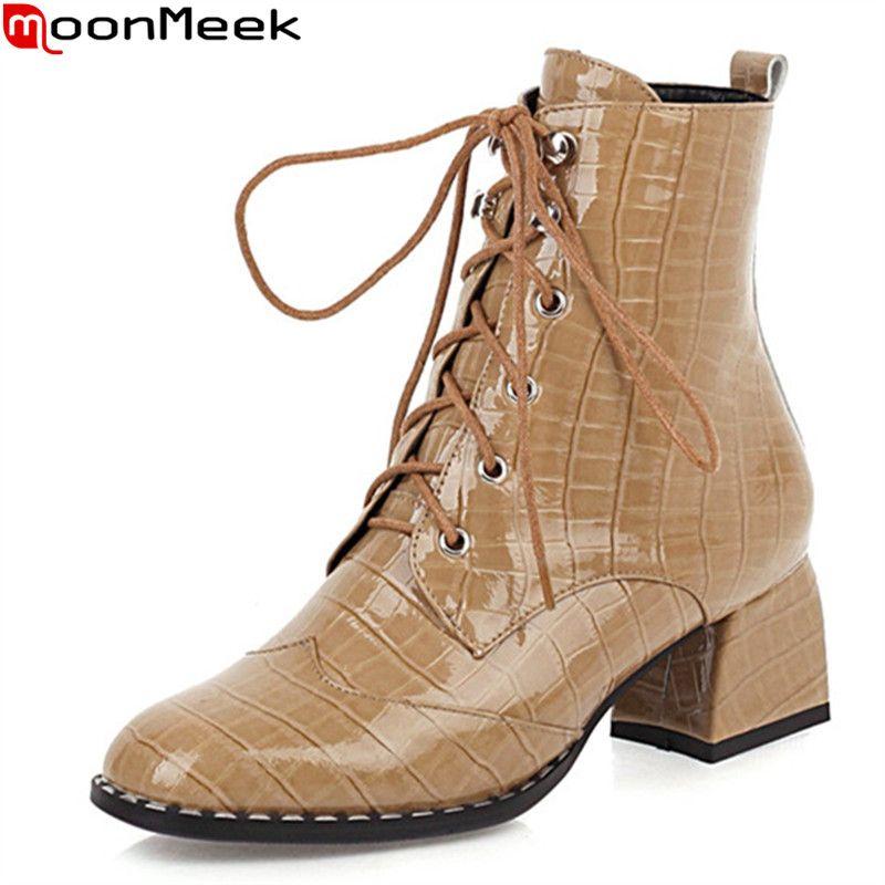 MoonMeek 2020 di grandi dimensioni 33-43 stivaletti stivali di pelle genuino tacchi spessi quadrati donne di inverno punta della moda autunno