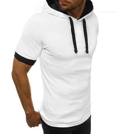 Lockere Männlich Kleidung mit Rundhalsausschnitt Panelled Herren Designer-T-Shirts mit Kapuze kurze Hülse Art und Weise Normallack beiläufige Tees
