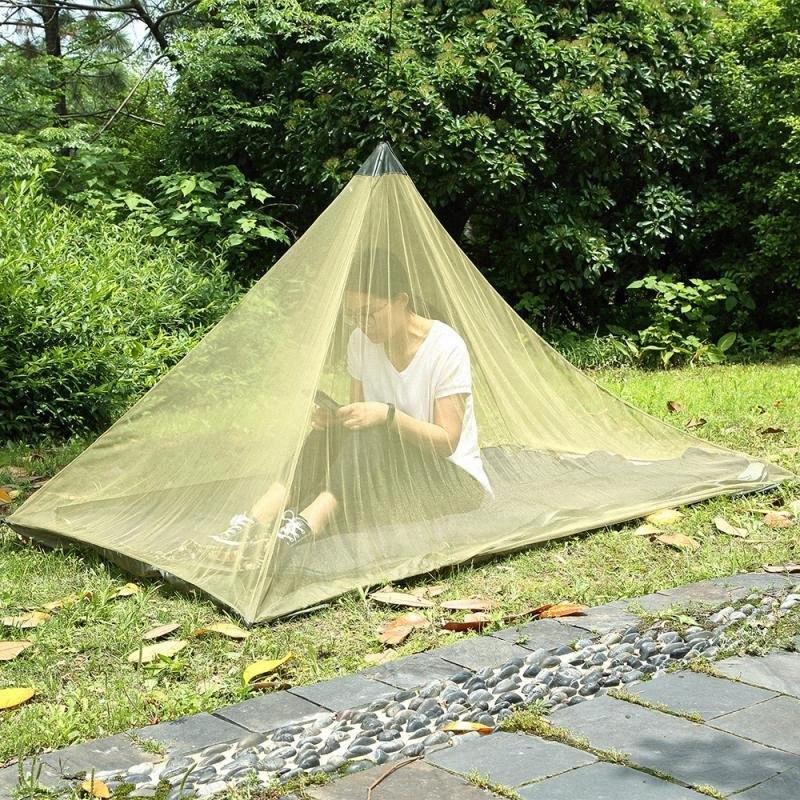 2 Farben 2.2 * 1.2m Single Layer Moskitonetz Zelte Outdoor-Camping-Zelt Bewegliche Mesh-Pyramide Zelte Garten-Dekorationen CCA11515 1 t3nx #
