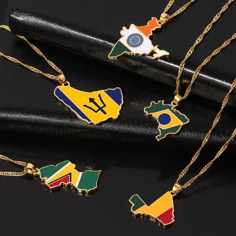Индия Барбадос Гайана Мали Бразилия Карта ожерелье Женщина Мужчины Золото Цветой Карта Hiphop Item Этнические украшения 2020 Подарков
