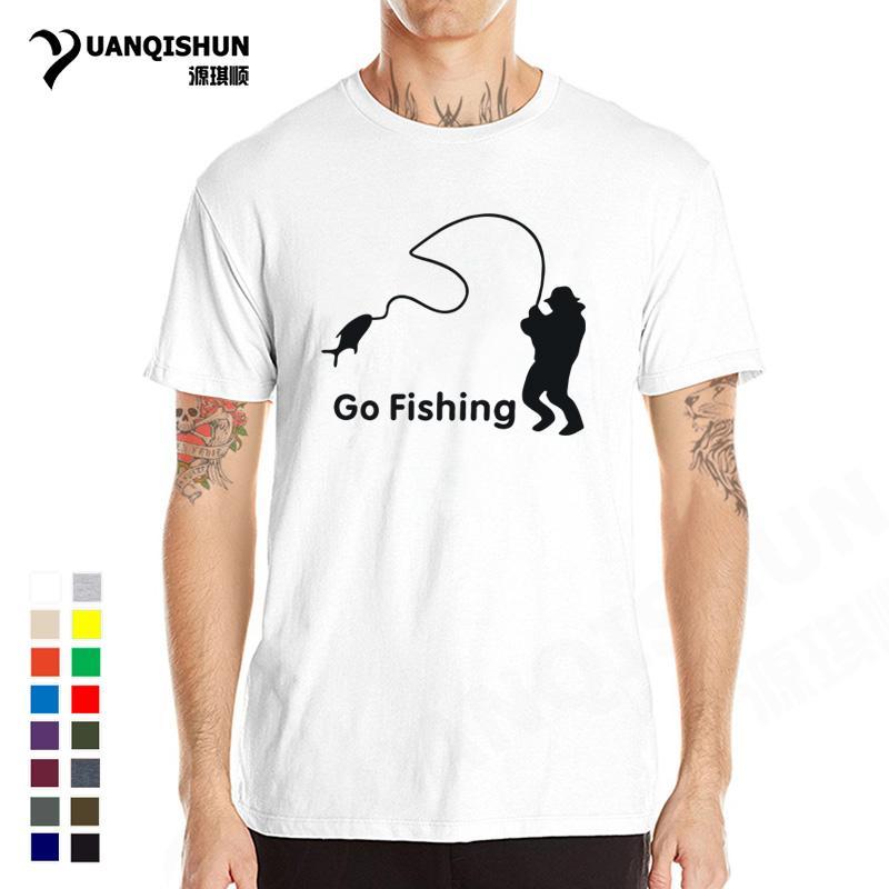 2018 Hot Summer fishings camiseta Pescador Go Fish camisetas de algodón de manga corta camiseta divertida regalo de calidad superior Camiseta de la marca XS-3XL