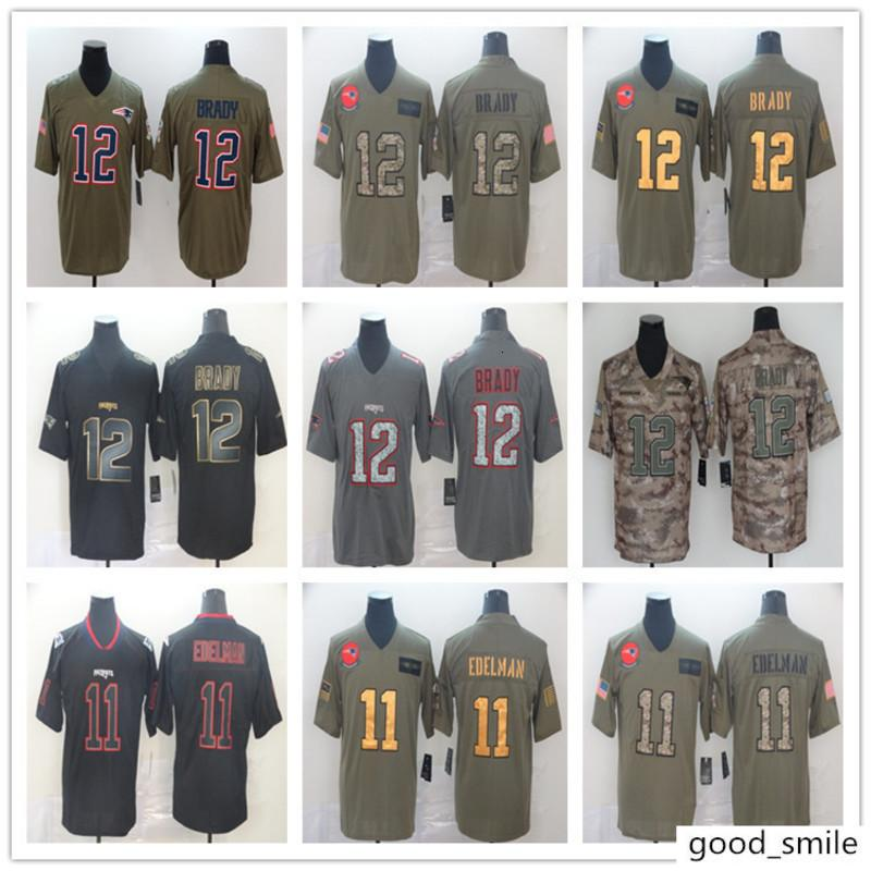 Équipe Patriots Jersey 12 # 11 # brady Tribute Camouflage Army Green Version Black Gold Rugby