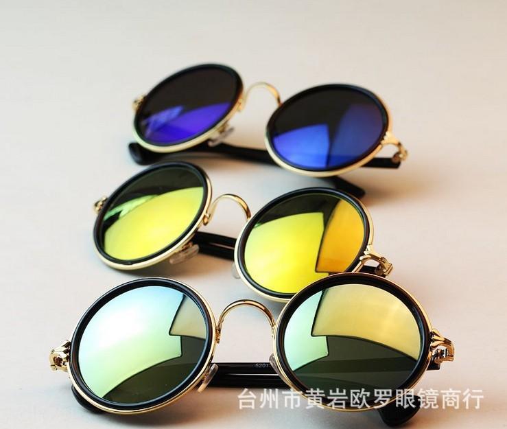 5201 films mode glassescolorful ronde des hommes et des femmes de soleil soleil lunettes lunettes palourde métal lunettes de soleil