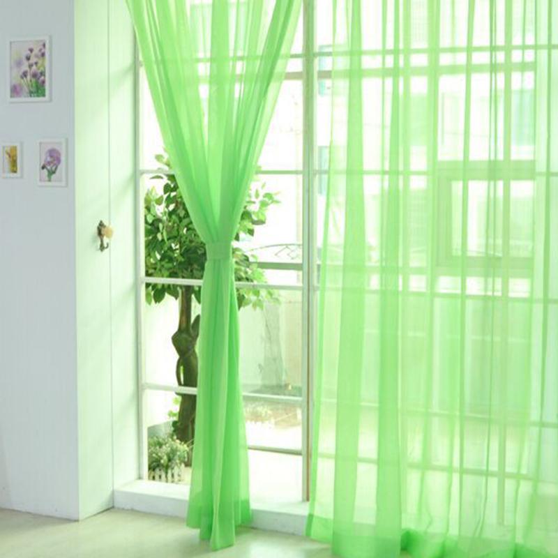 Junejour 1pc Solid Rideaux de porte Panneau Drapé Sheer Tulle Rideaux pour Salon Chambre écran blanc Fenêtre