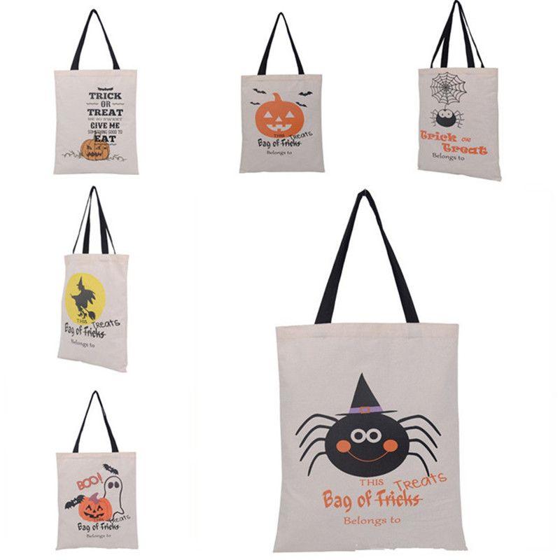 Sacos de Halloween Sacos de abóbora Sacos de compras Festival presentes saco de Balloween bolsa de lona 6 estilos 50pcs t1i2295