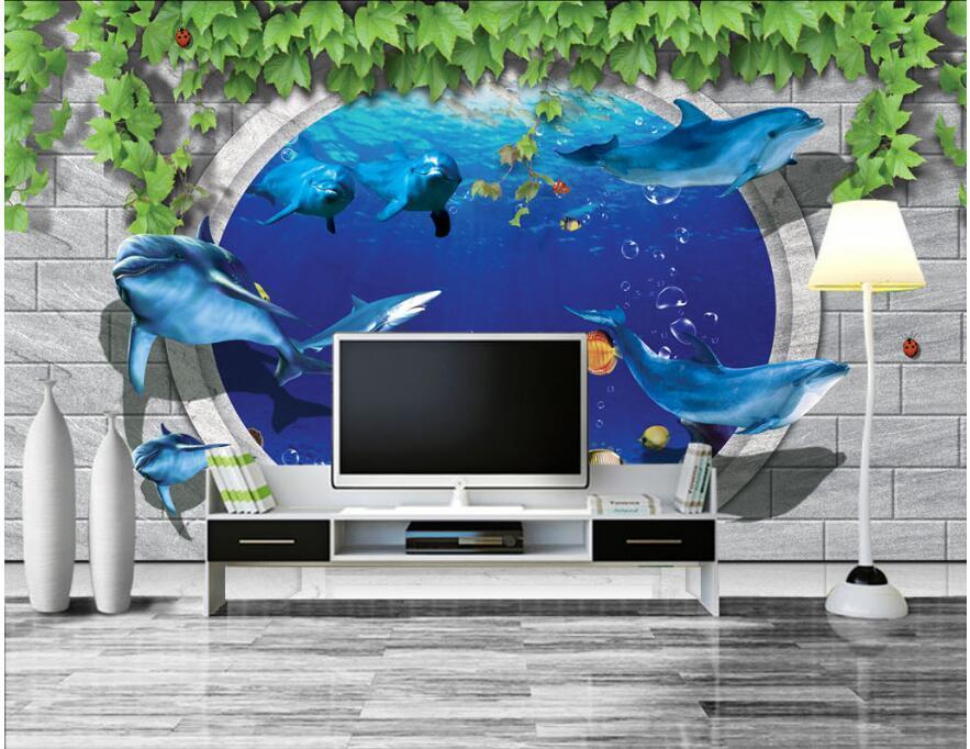 3d Tapete an der Wand individuelle Fototapete Ocean World Dolphin Backsteinmauer Heim Wohnzimmer Tapete für Wände 3 d